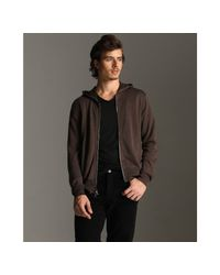 John Varvatos | Brown Wet Sand Cotton-silk Zip Front Hooded Sweater for Men | Lyst