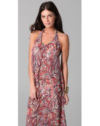Josa Tulum | Pink Chiffon Low Back Halter Cover Up Dress | Lyst