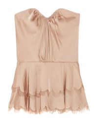 Rebecca Taylor | Pink Tiered Satin Strapless Top | Lyst