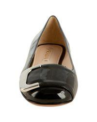 Prada - Black Patent Leather Buckle Ballerina Flats - Lyst