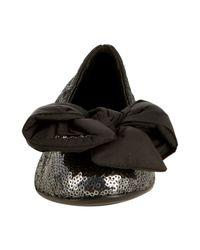 Prada - Metallic Sport Silver Sequin Bow Detail Ballet Flats - Lyst
