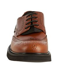 Prada | Brown Tobacco Leather Rubber Lug Wing-tip Oxfords for Men | Lyst