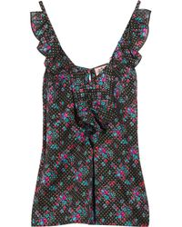 Juicy Couture | Black Floral-print Cotton and Silk-blend Top | Lyst