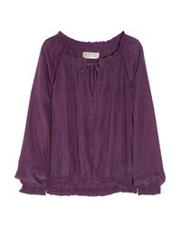 Textile Elizabeth and James | Purple Laeticia Smocked Washed-silk Blouse | Lyst