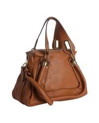 Chloé - Brown Wood Leather Paratay Medium Shoulder Bag - Lyst