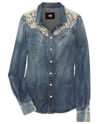 Dolce & Gabbana | Blue Lace Shoulder Denim Shirt | Lyst