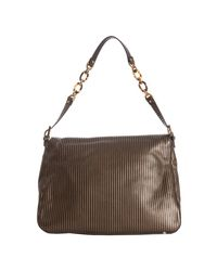 Fendi | Gray Black and Gold Striped Leather Mamma Shoulder Bag | Lyst