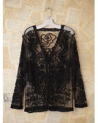 Free People | Black Vintage Embroidered Mesh Jacket | Lyst