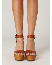 Free People | Brown Alisa Ankle Strap Platform | Lyst
