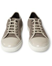 Lanvin - Brown Suede and Patent Leather Sneakers for Men - Lyst