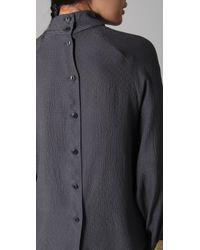 Tucker - Gray Button Back Blouse - Lyst
