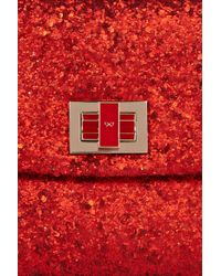 Anya Hindmarch - Red Valorie Glitter-finish Leather Clutch - Lyst