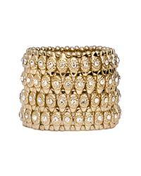 Cara | Metallic Crystal Circle Stretch Bracelet | Lyst