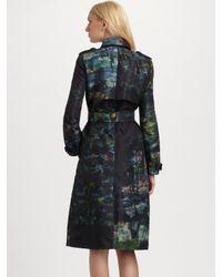 Erdem - Green Printed Trenchcoat - Lyst