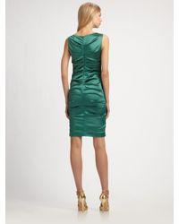 Nicole Miller | Green Stretch Satin Dress | Lyst