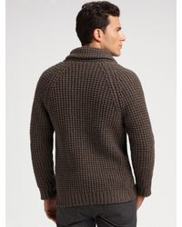 Vince - Brown Thermal Shawl-collar Cardigan for Men - Lyst