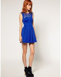 ASOS Collection | Blue Black Neoprene Laser Cut Waisted Dress | Lyst