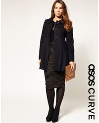 ASOS Collection - Blue Asos Curve Sugarland A-line Coat - Lyst