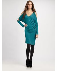 BCBGMAXAZRIA | Green Camira Knit Slit Dolman-sleeve Dress | Lyst