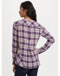 C&C California | Purple Plaid Pintuck Button-down Top | Lyst