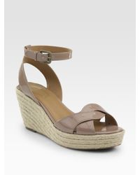 Elie Tahari | Natural Dawn Patent Leather Espadrille Wedge Sandals | Lyst