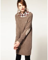 Fred Perry | Brown Donegal Long Line Jumper | Lyst