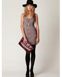 Free People | Pink Animal Knit Bodycon Dress | Lyst