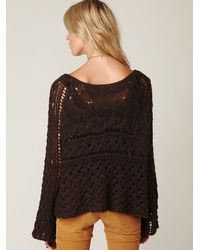Free People   Brown Open Stitch Sweater   Lyst