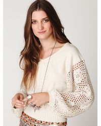 Free People | White Crochet Sleeve Pullover | Lyst