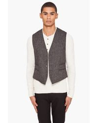 John Varvatos - Black Tweed Four Pocket Vest for Men - Lyst