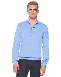 Michael Kors | Button/zip Sweater, Cornflower Blue for Men | Lyst