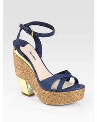 Miu Miu | Blue Espadrille Wedge Sandals | Lyst