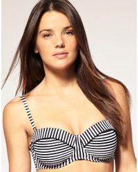 Seafolly | Black Pin Stripe D Cup Bustier Bikini Top | Lyst