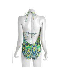 Shoshanna | Blue Indigo Balinese Ikat Keyhole One Piece Swimsuit | Lyst