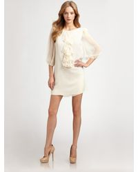 Tibi | Natural Ruffled Chiffon Dress | Lyst