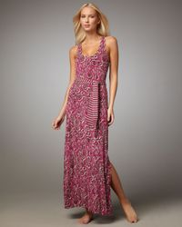 Tory Burch - Pink Belted Maxi Dress - Lyst