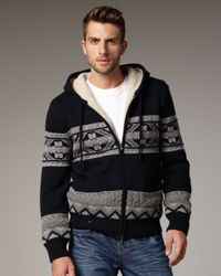 VINCE | Black Sherpa-lined Intarsia Hoodie for Men | Lyst