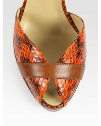 Vionnet - Brown Suede and Snake-print Leather Platform Sandals - Lyst