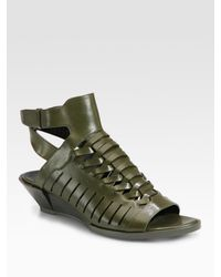 Alexander Wang | Green Nika Hirachi Leather Wedge Sandals | Lyst