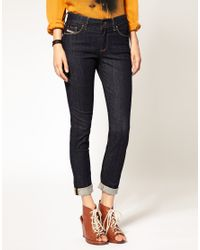 DIESEL - Blue Rinse Wash Hivy High Waisted Skinny Jean - Lyst