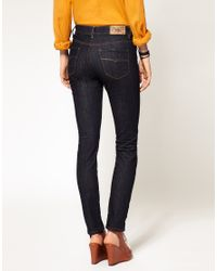DIESEL | Blue Rinse Wash Hivy High Waisted Skinny Jean | Lyst