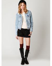Free People - Black Tweed Shorts - Lyst