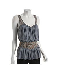 Free People - Gray Grey Cotton Smocked Waist Paillette Top - Lyst