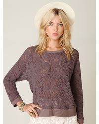 Free People | Purple All Over Lace Pullover | Lyst
