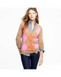 J.Crew - Natural Cashmere Clash Argyle Sweater - Lyst