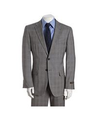 Joseph Abboud - Gray Grey Plaid Super 120s Wool 2-button Suit with Flat Front Pants for Men - Lyst