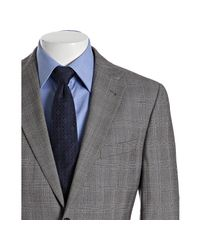 Joseph Abboud | Gray Grey Plaid Super 120s Wool 2-button Suit with Flat Front Pants for Men | Lyst