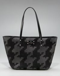 kate spade new york | Black Harmony Sparkle Houndstooth Tote | Lyst