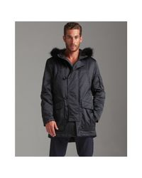 Theory | Black Baxter Tracker Coyote Fur Trim Down Coat for Men | Lyst