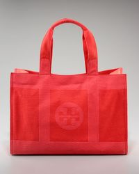 Tory Burch | Red Trompe Loeil Canvas Tory Tote | Lyst